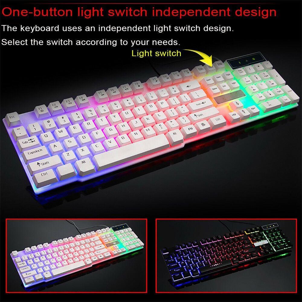 USB Wired PC Rainbow Gaming Keyboard Colorful Crack LED Illuminated Backlit New