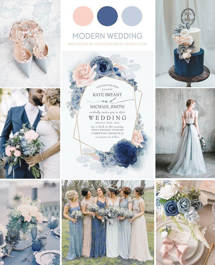 Blush Dusty and Navy Blue Floral Wedding Invitation | Zazzle.com