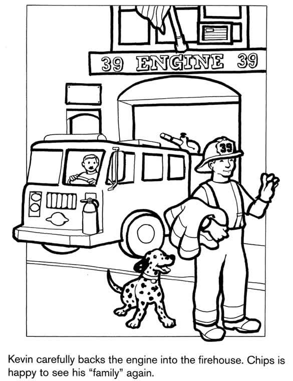firefighter coloring page kids