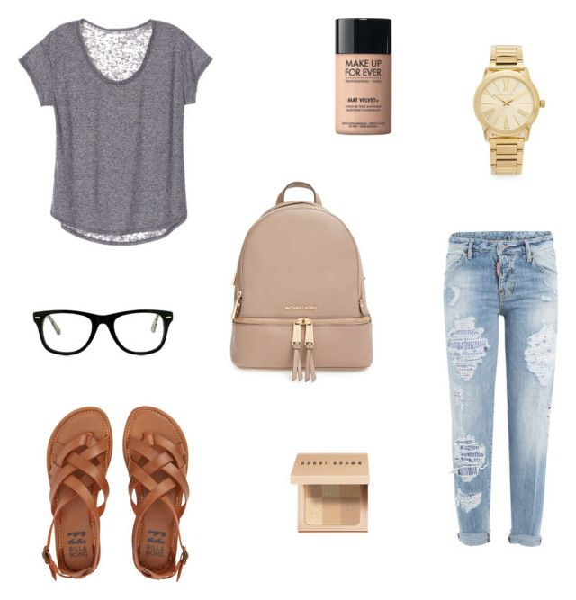 """""""Cute college day outfit"""" by bigsisshopper on Polyvore featuring Dsquared2, Billabong, Muse, MICHAEL Michael Kors, MAKE UP FOR EVER, Bobbi Brown Cosmetics and Michael Kors"""