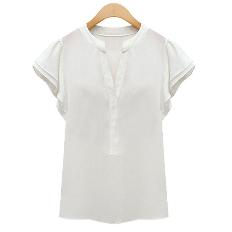 New Fashion Summer Wome Ladies Short Sleeve Chiffon Blouses blusas mujer Tops Office Shirts White Blouse chemise femme Z1
