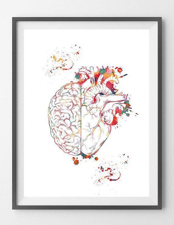 Heart And Brain Balance Watercolor Print BrainHeart Poster Cognitive Psychology Illustration Follow Your Heart vs Follow Your Brain print This is a fine art watercolor pr...