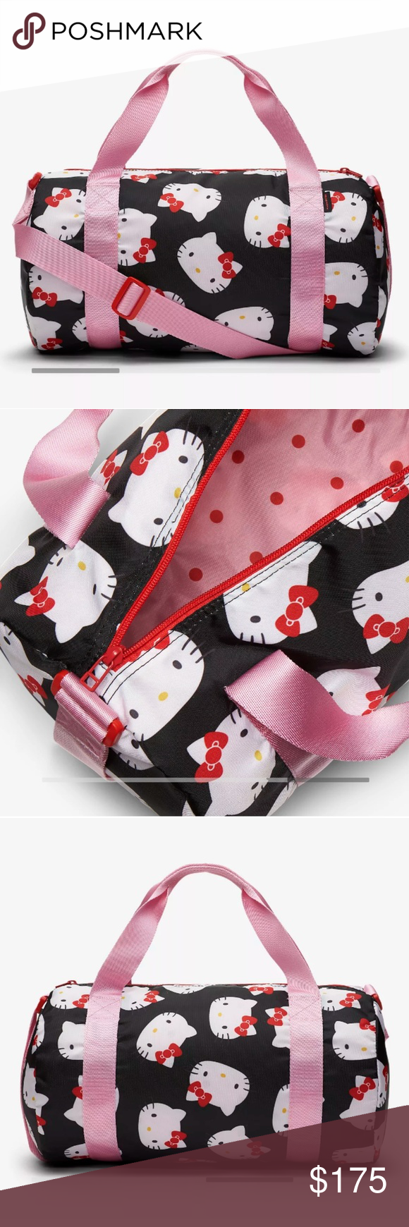 Limited Edition Converse x Hello Kitty duffle bag Give your prized  possessions a happy home. The Converse x Hello Kitty mini duffel bag is  printed with a ... 1e1254ffae2be