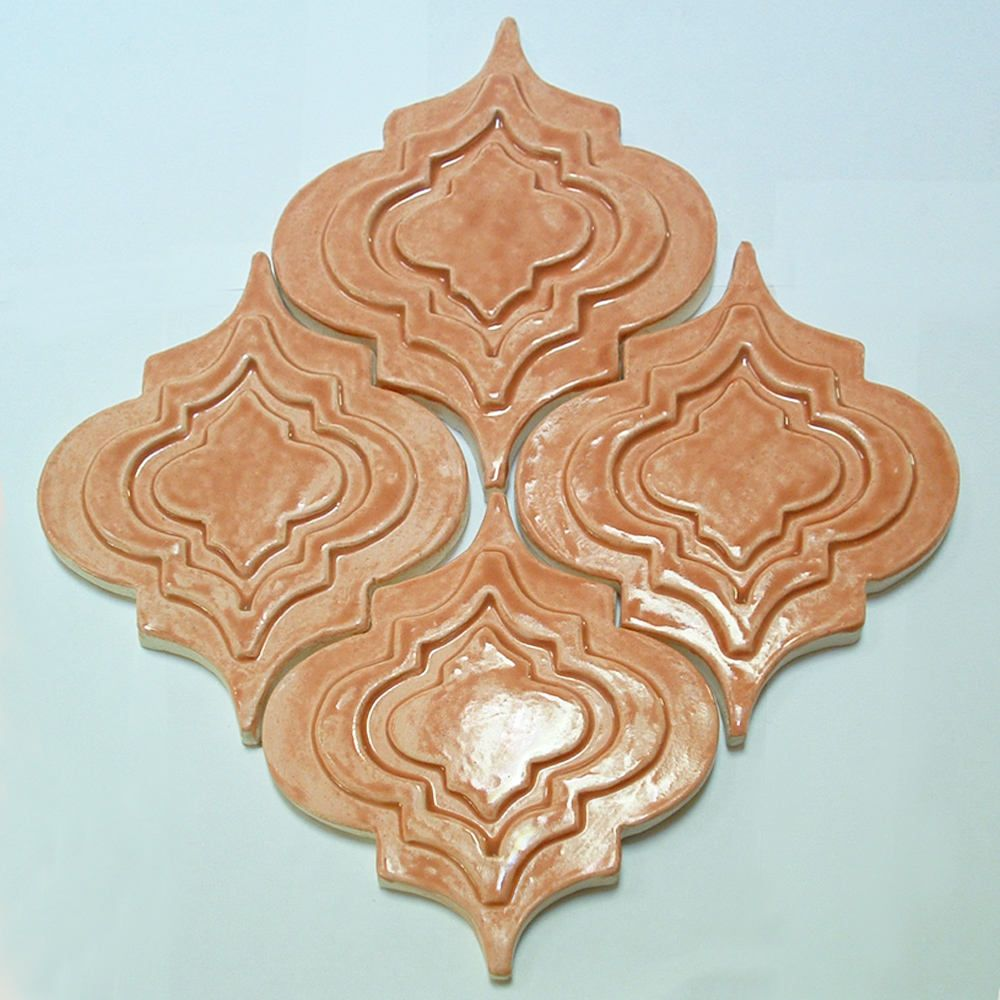 Arabesque Tile 1 Square Foot Salmon Glaze Handmade Relief Tile For Fireplace Kitchen Or Bath By Fayjonesdaytile On With Images Arabesque Tile Fireplace Tile Arabesque