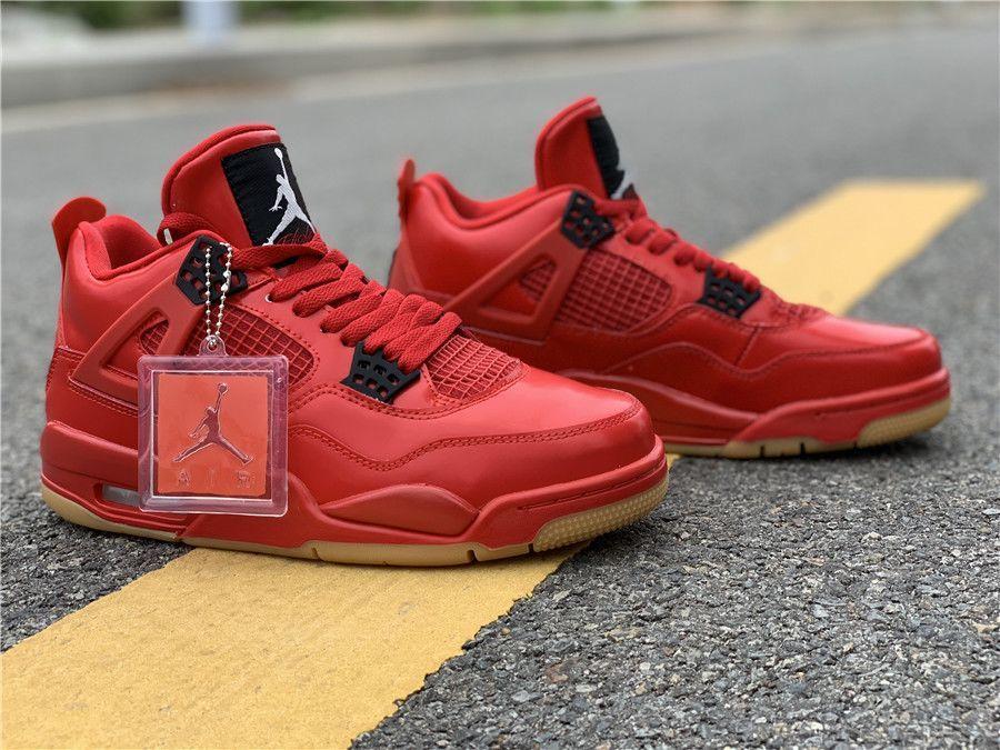 "aa2a021706c7 The Air Jordan 4 Retro NRG ""Singles Day"" celebrates the holiday with a  leather build that s entirely finished in Fire Red."