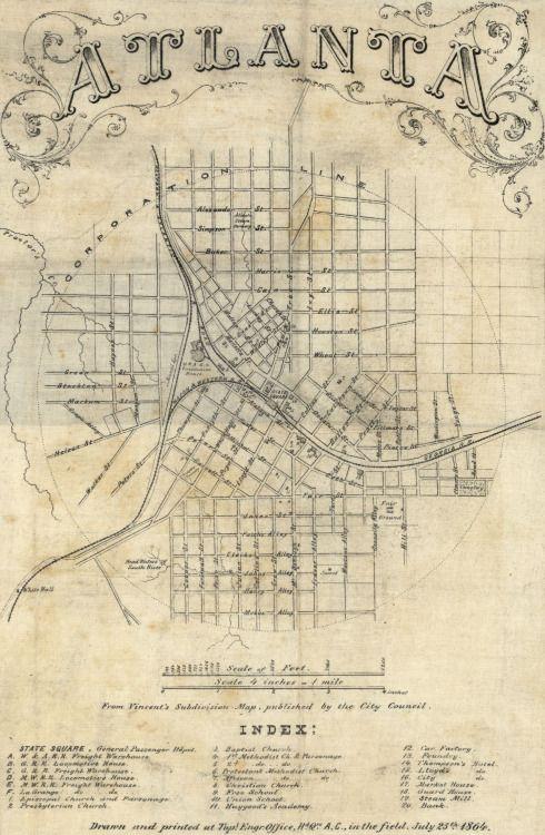 Map of Atlanta, 1864
