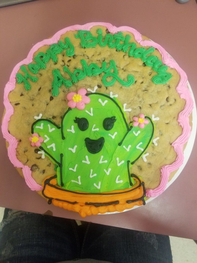 Awe Inspiring Cactus Cookie Cake With Images Cookie Cake Designs Giant Funny Birthday Cards Online Sheoxdamsfinfo