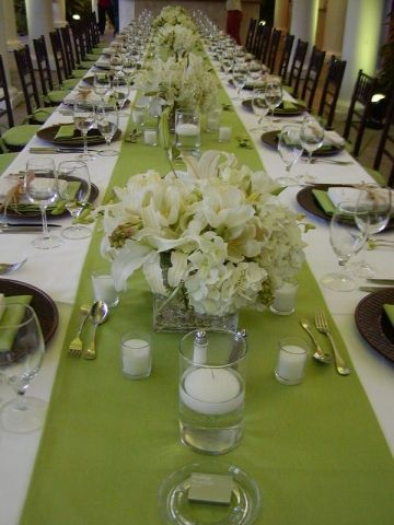 Simply Elegant Long Table Setting Mint Green Table Runners With