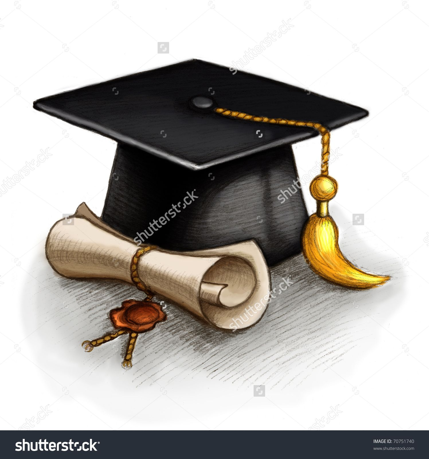Pics photos how to draw a graduation hat - Drawing Of Graduation Cap And Diploma Stock Photo 70751740