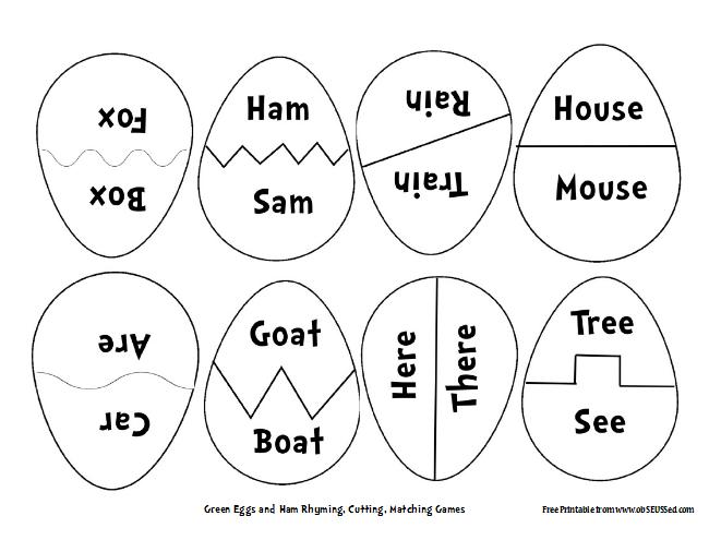 Green Eggs Ham Rhyming Copy Onto Paper