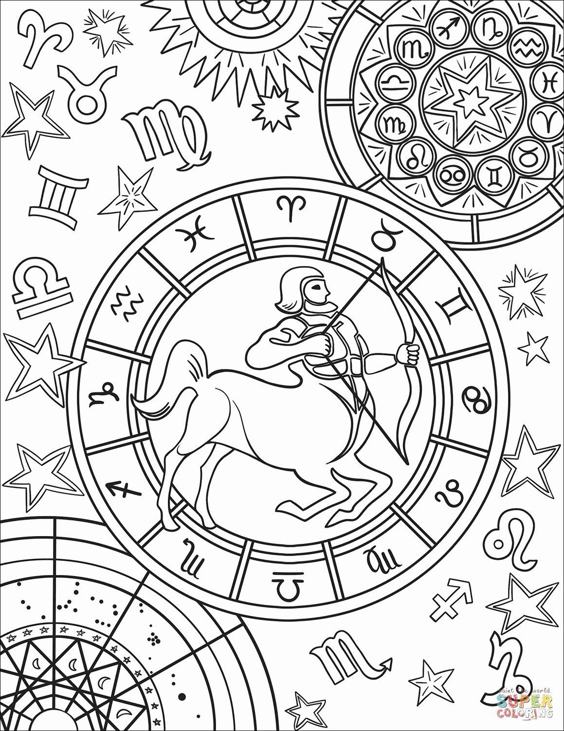 Design Coloring Pictures Elegant Astrological Signs Coloring Sheets Elegant Zodiac Coloring In 2020 Space Coloring Pages Designs Coloring Books Star Coloring Pages