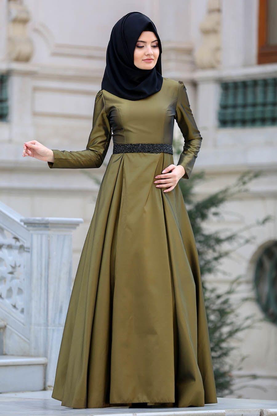 a0128a6003c27 Tuay - Beli Taşlı Yağ Yeşili Tesettür Abiye Elbise 2418YY #tesetturisland  #tesettur #tesetturelbise