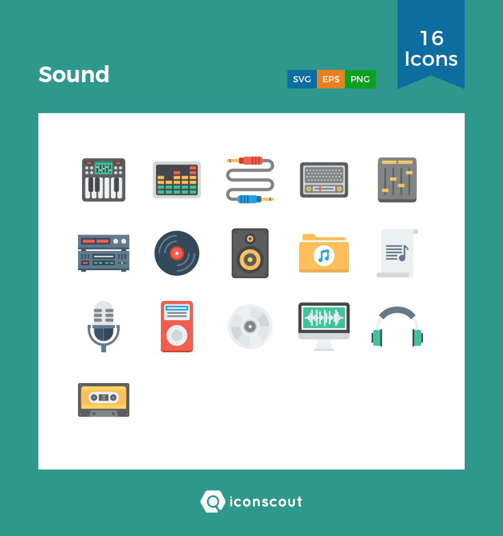Sound Icon Pack 16 Flat Icons Icon Flat Icon Icon Pack