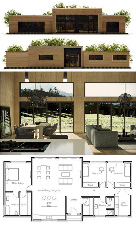 Planta de casa construction en 2019 plan maison maison minimaliste et plans architecturaux - Petite maison toit plat ...