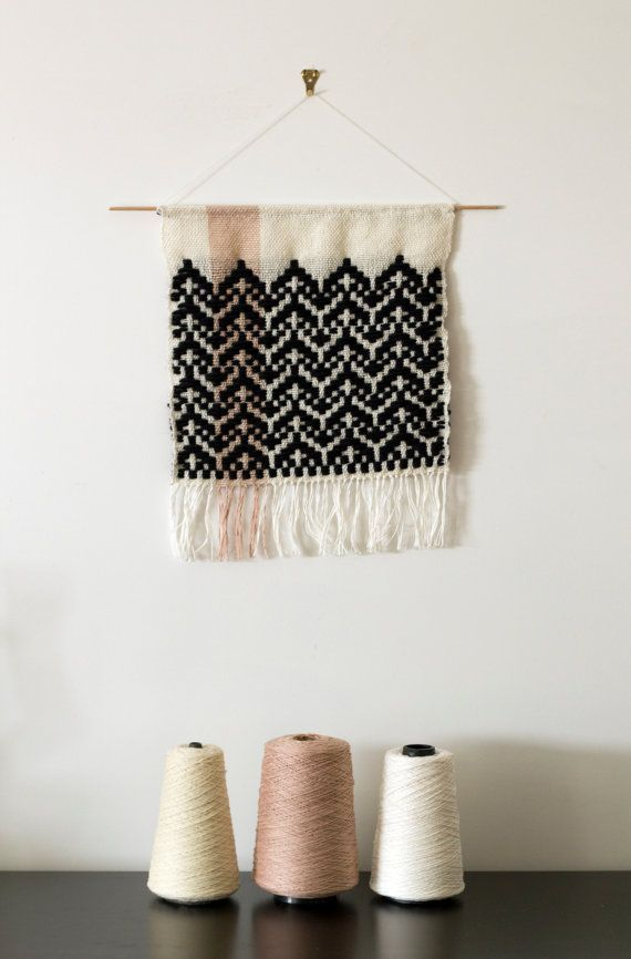 Rosepath Inlay Design Hand Woven Wall by jenniferlesleydesign