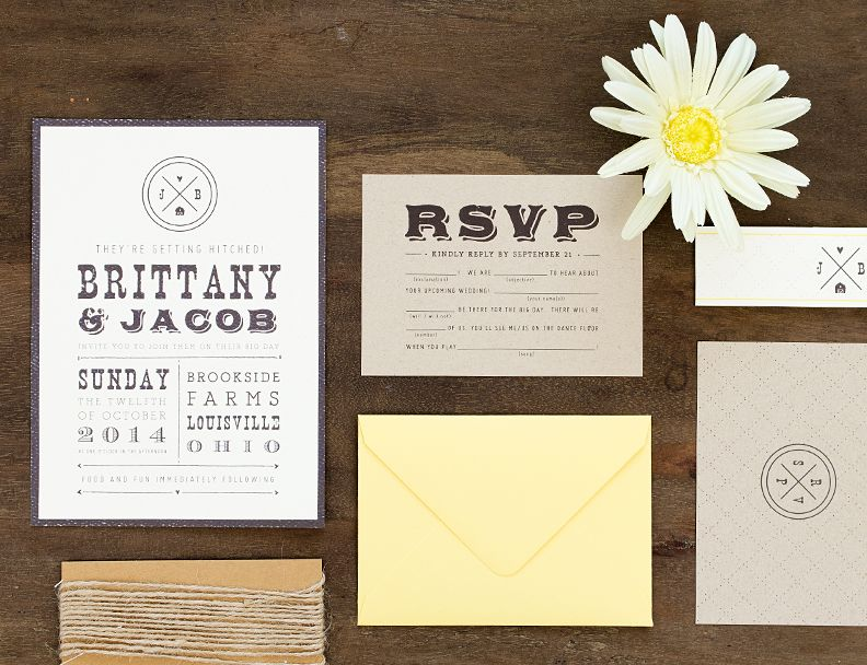 Pinwheel Print Shop // Country Wedding Invitation Suite // Blue ...