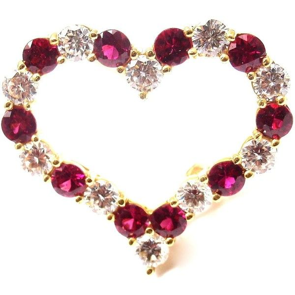 4ae7a6c06ce Pre-owned Tiffany   Co. 18K Yellow Gold Diamond Ruby Heart Pin Brooch  ( 5