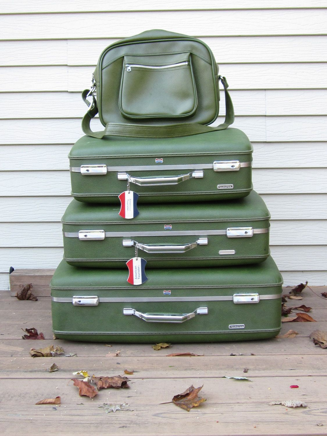 Vintage American Tourister Luggage Suitcases In Green
