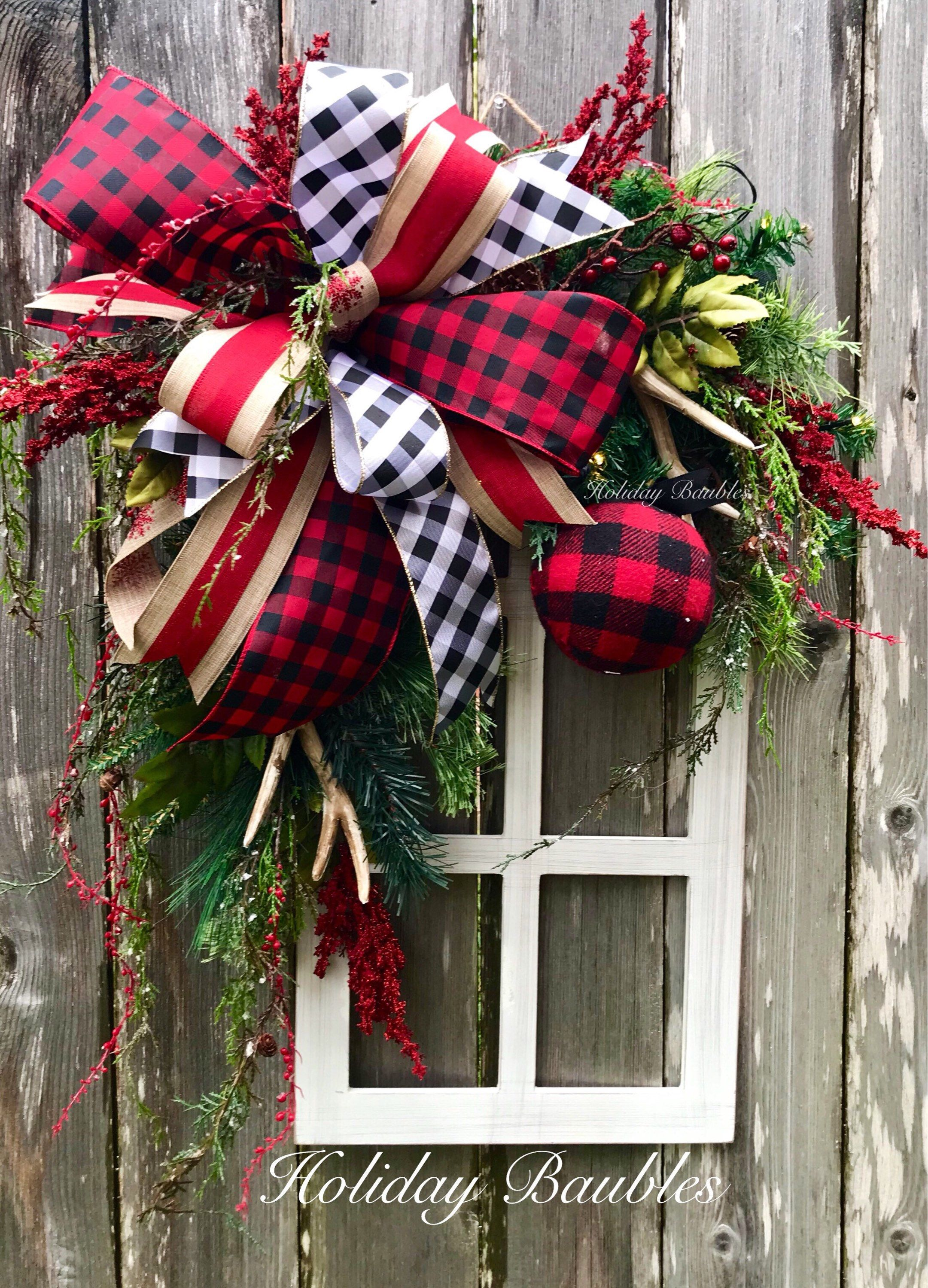 A personal favorite from my Etsy shop https://www.etsy.com. Plaid ChristmasRustic  ChristmasChristmas WreathsWinter ...