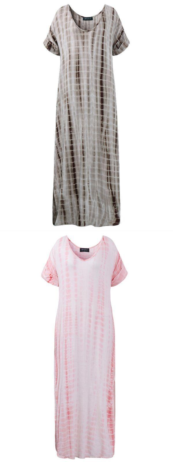 Gracila casual women short sleeve dyeing print split vneck maxi