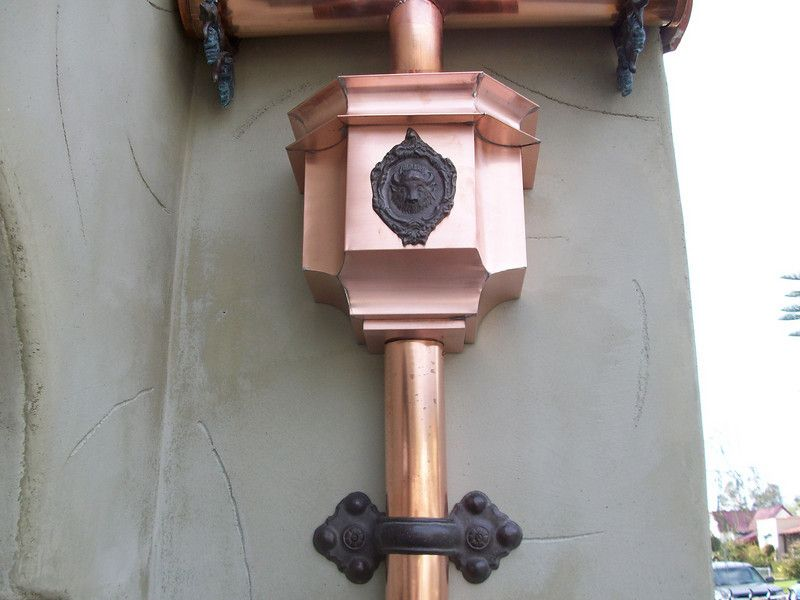 Ornate Gutters One Of A Kind Leaderhead At A Graveyard In Hollywood California Gutters Rain Gutters Downspout