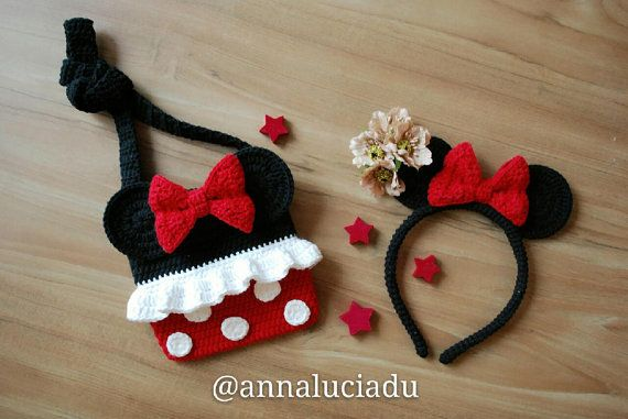Minnie mouse and headband 2 patterns pack, crochet bags, crochet ...
