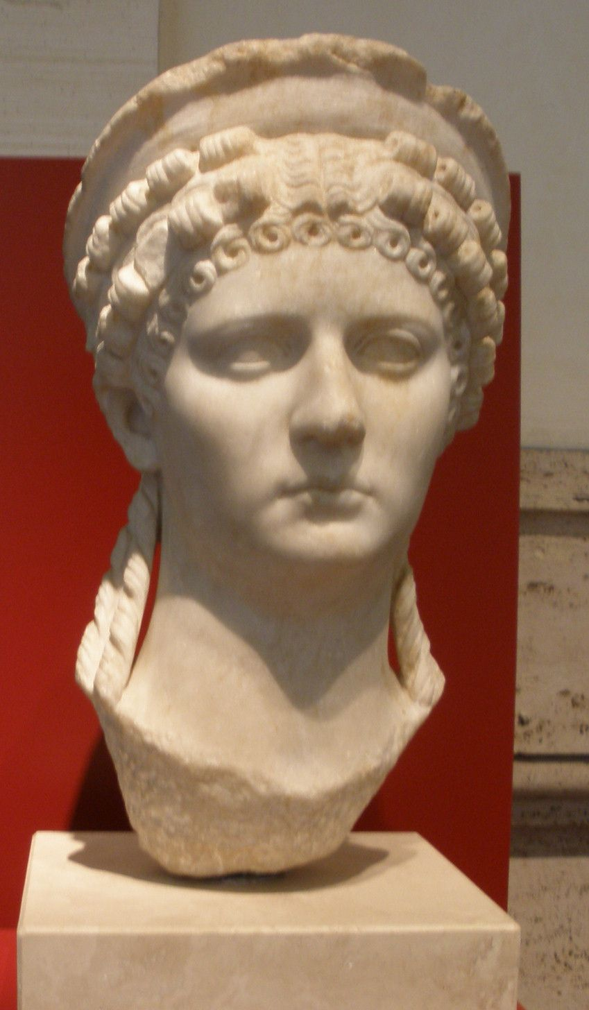 Poppaea Sabina was a legendarily schemer who worked her way to Emperor Nero's mistress and then wife and empress, after convincing him to divorce (and later murder) his wife Octavia. Nero and Poppaea's only child, a daughter, died very young. Legend has it that during a subsequent pregnancy, Nero kicked Poppaea in the abdomen, causing her death, although she may have died from complications surrounding the pregnancy or childbirth. Photo by TcfkaPanairjdde.
