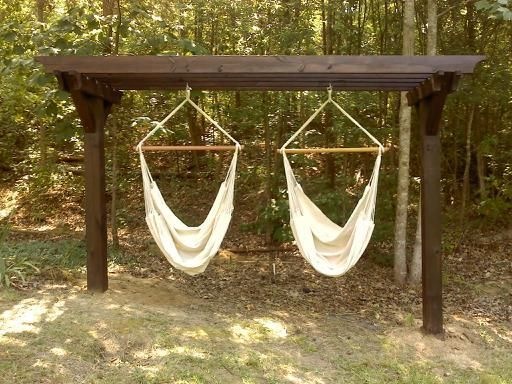 Hammock Chair Stand If I Could Build The Pergola My Son Has Two Hammocks Done Deal Lol