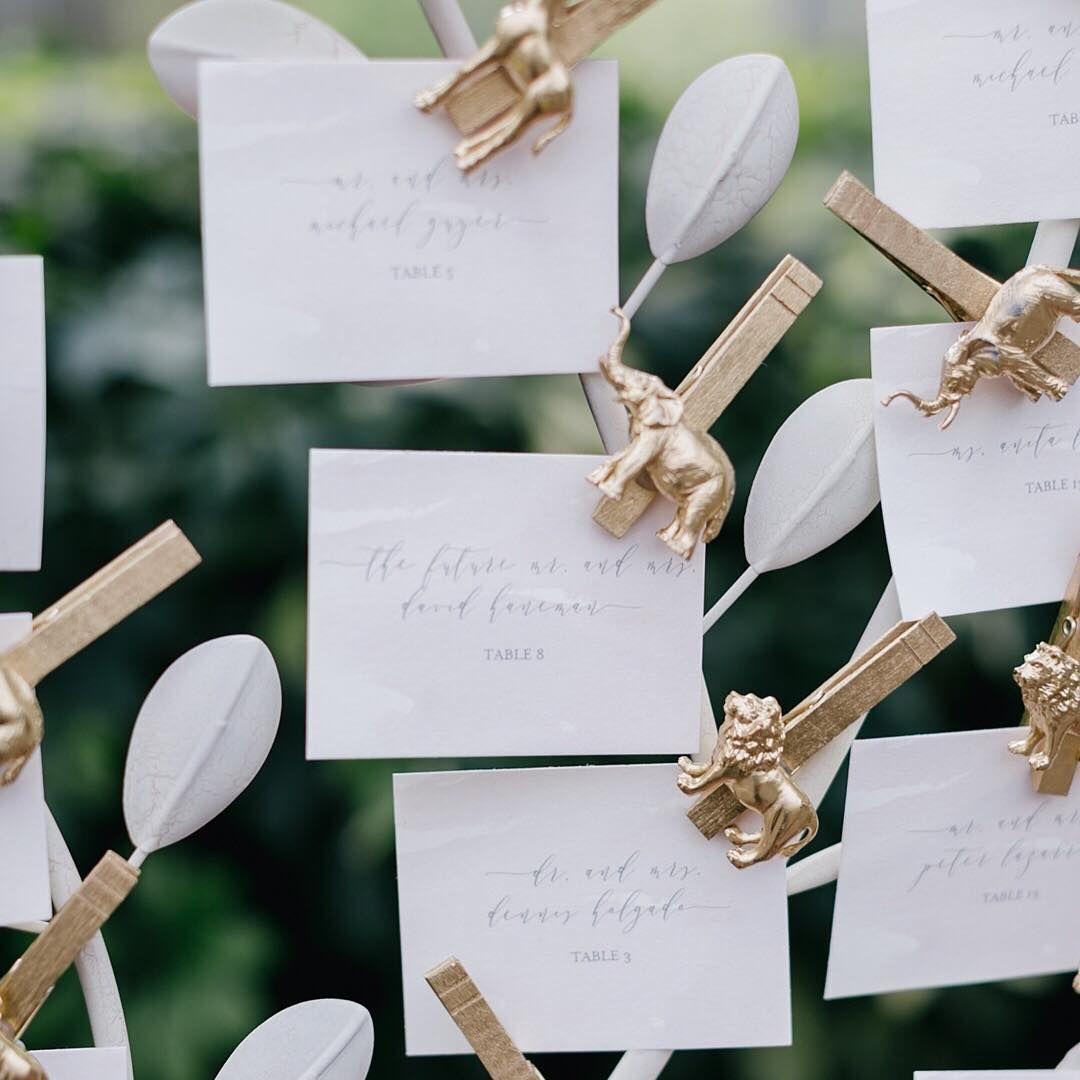 We love creative ways to display escort cards. Aren\'t these blush ...