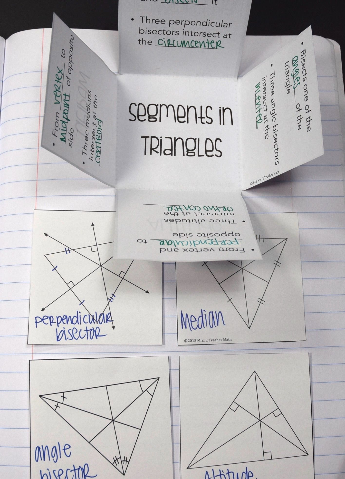 Segments In Triangles Foldable Secondary Math
