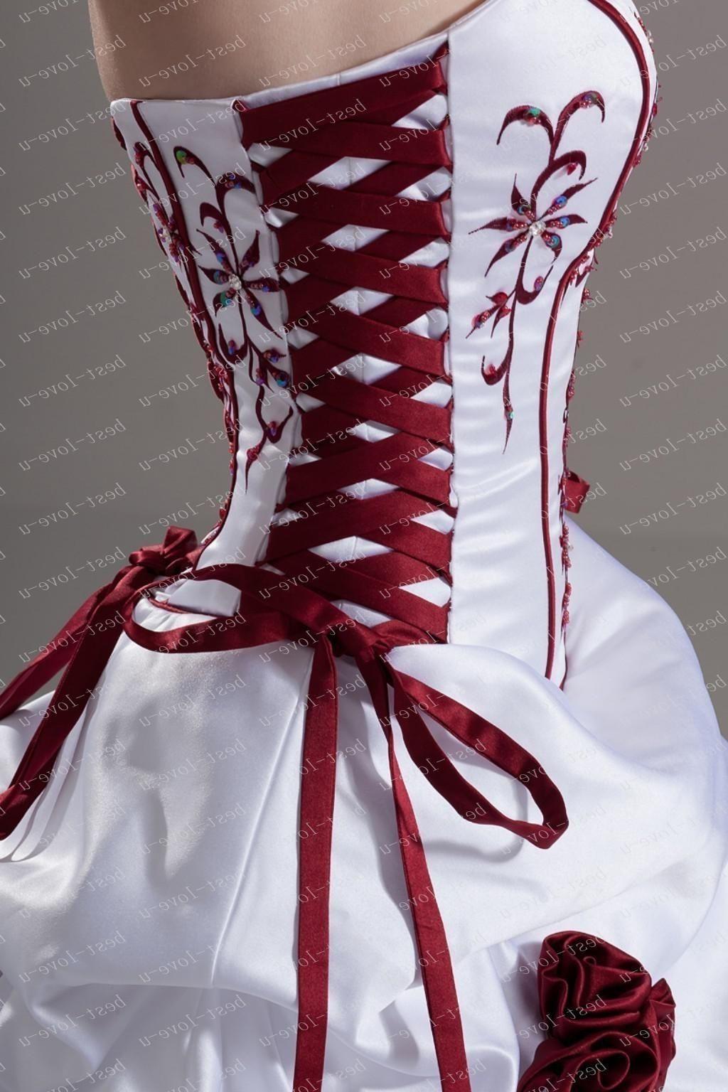 Burgundy And White Wedding Dress Wedding Dresses Corset Red Wedding Dresses Winter Wedding Dress