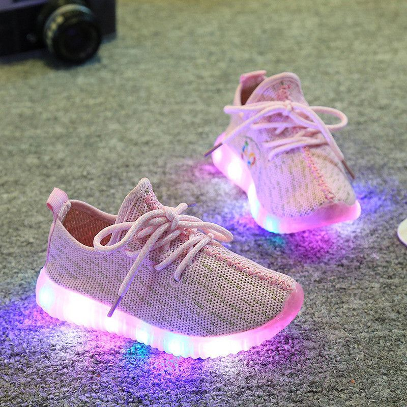 b1f3895ef8c24 2016 spring new children coconut of shoes mesh breathable soft-soled running  lighting shoes with LED boys girls fashion sneakers