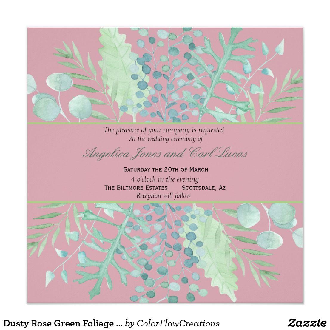 Dusty Rose Green Foliage Leaves Wedding Invitation - Pink Wedding ...
