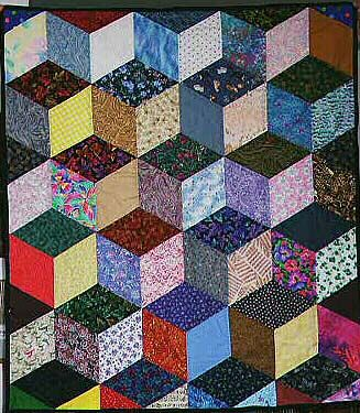 Free Easy Quilt Block Patterns Optical Illusion Tumbling Blocks
