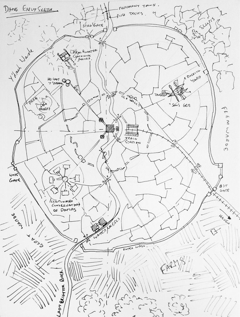 Creating a city map: step 1 - the rough sketch Get the main locations in place, defences, and key roads. #fantasy #map #tutorial