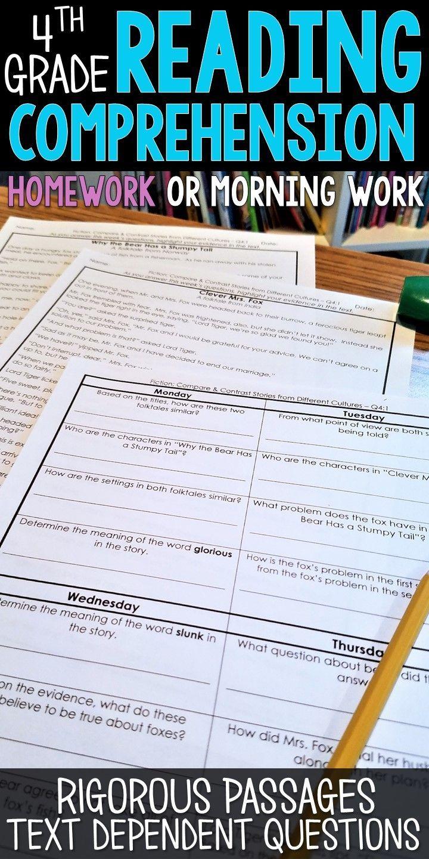 4th Grade Reading Homework or Morning Work | 4th Grade Reading ...