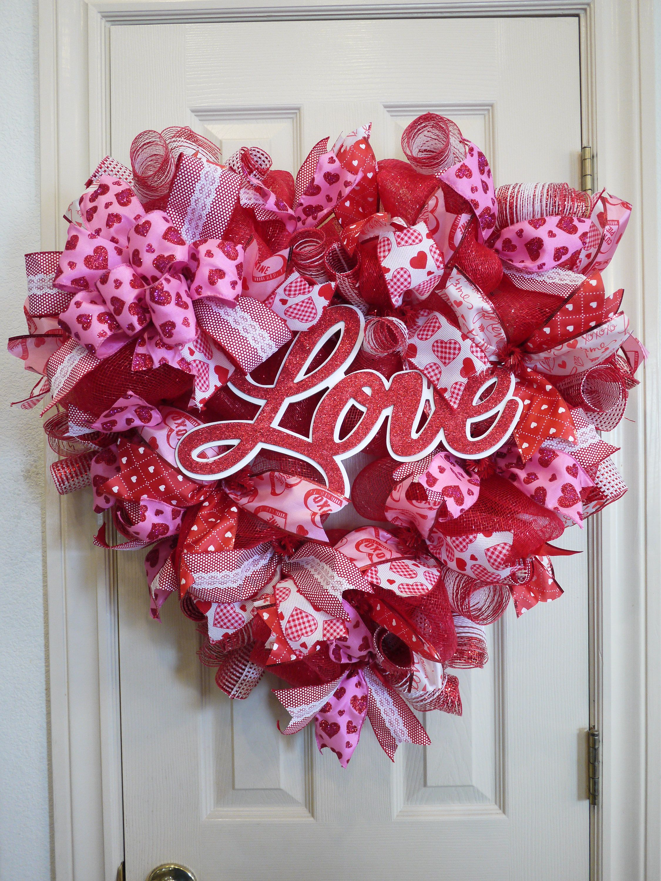 Valentineu0027s Day Wreath, Heart Valentine Mesh Wreath, Mesh And Ribbon Heart  Wreath, Heart