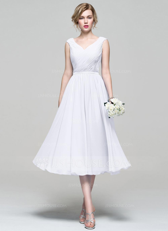 [US 112.00] ALine Vneck TeaLength Chiffon Bridesmaid
