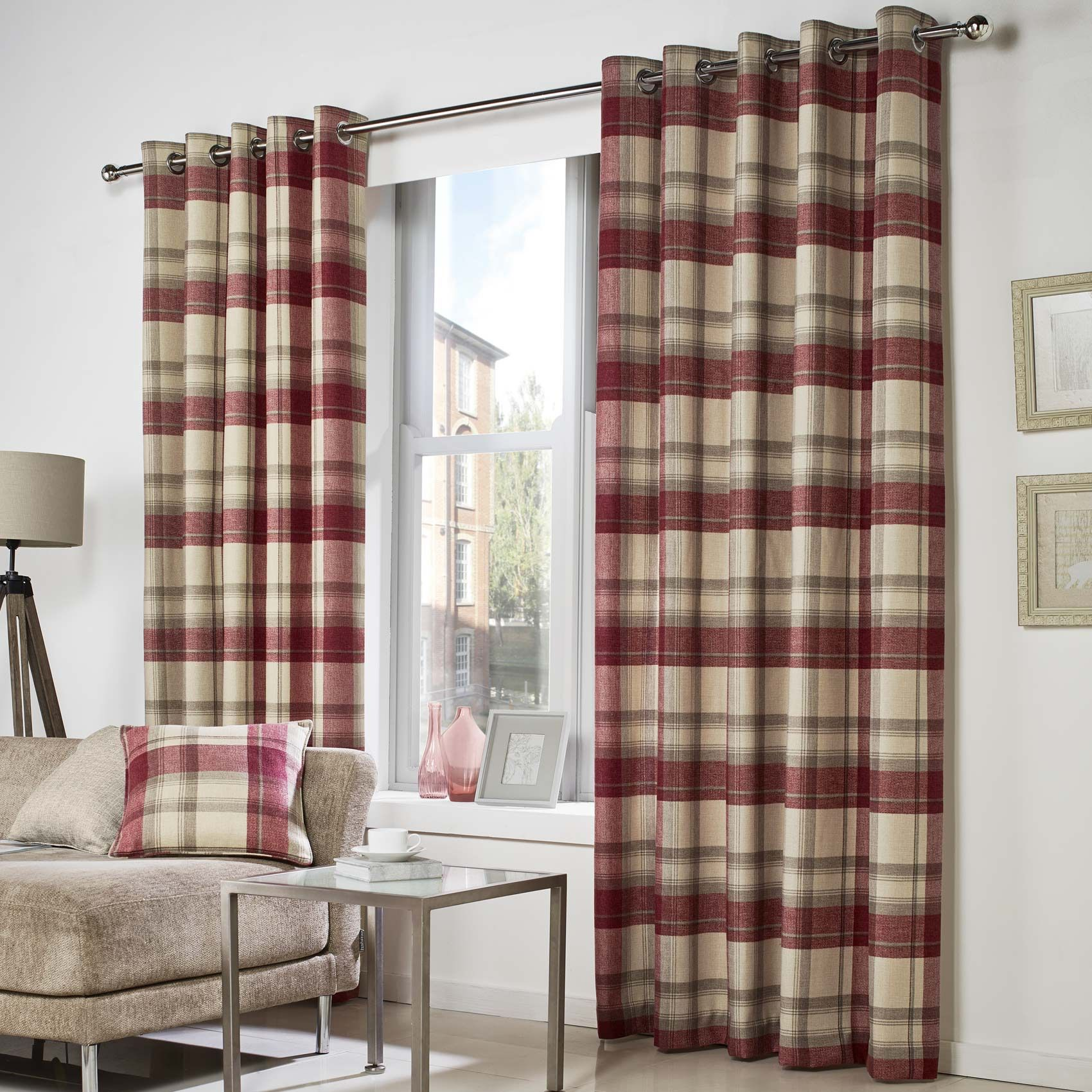 Red plaid curtains - Curtina Belvedere Check Eyelet Readymade Curtains Red Soft Furnishings Emporium Home Interiors