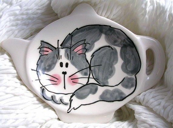 Cat Ceramic Tea Bag Holder.