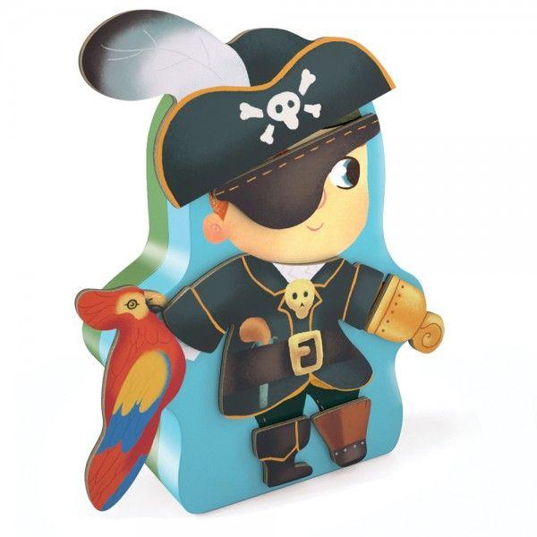 Con esta caja metálica de Djeco tu peque podrá formar un pirata o un indio  con las 27 piezas de madera magnéticas
