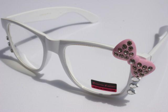 efa2b8c84 Fashion Women way Rhinestone white Pink Bowtie Hello Kitty Glasses Clear  Lens c
