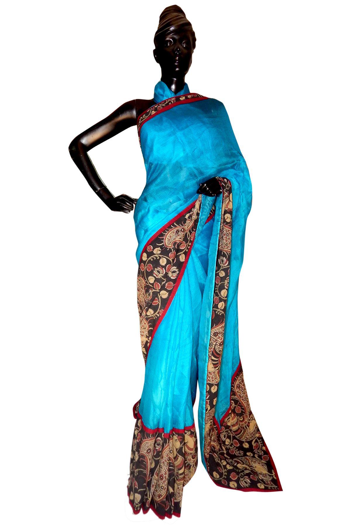 A Silk Kota Saree Designed Using Hand Painted Kalamkari Borders On