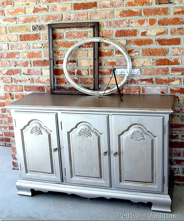 The Sideboard Is Painted With Silver Metallic Paint Then Aged A Toner Very Simple Technique