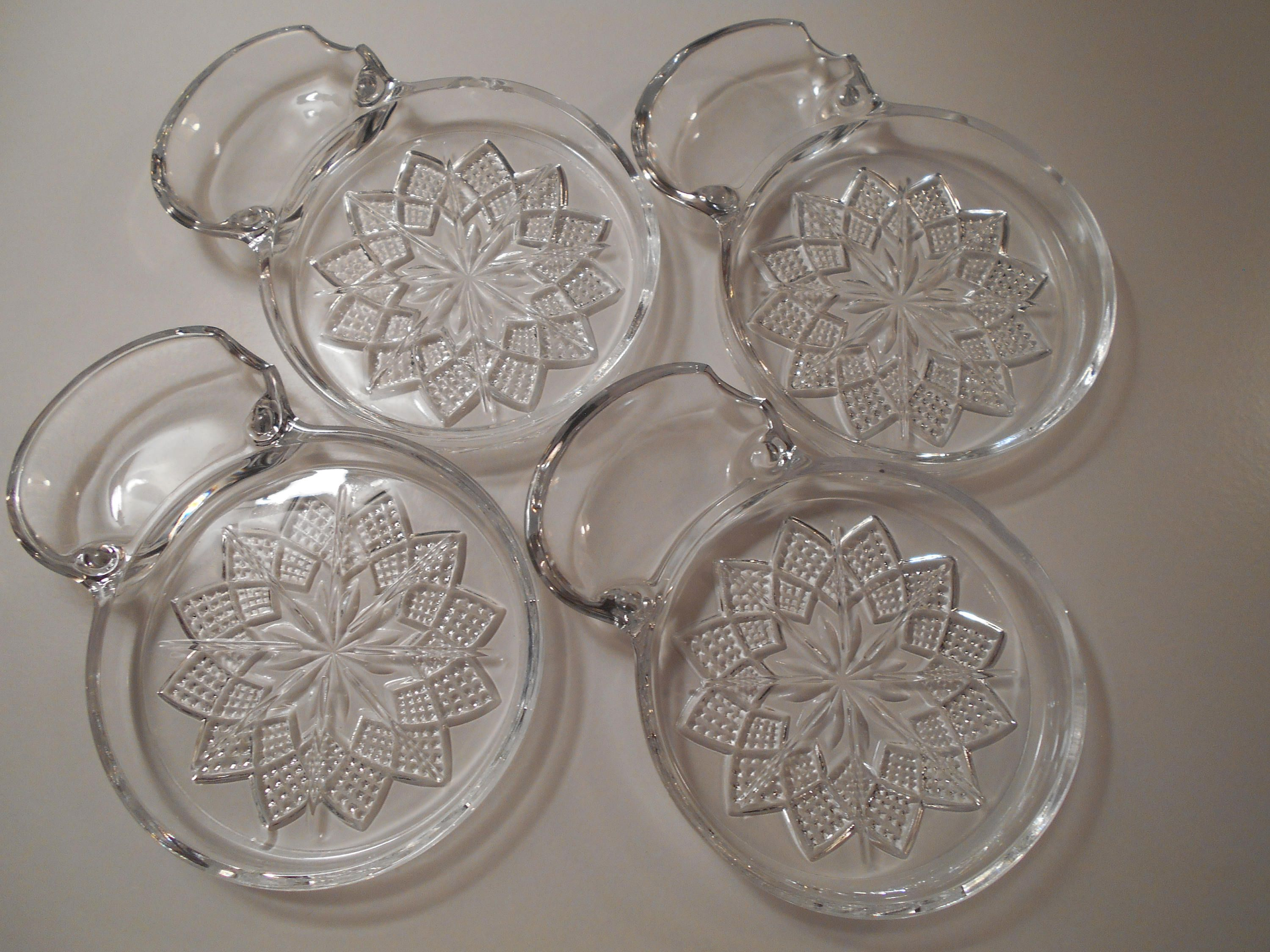 4 Vintage Pressed Glass Coasters With Spoonrest 4 Flower Glass
