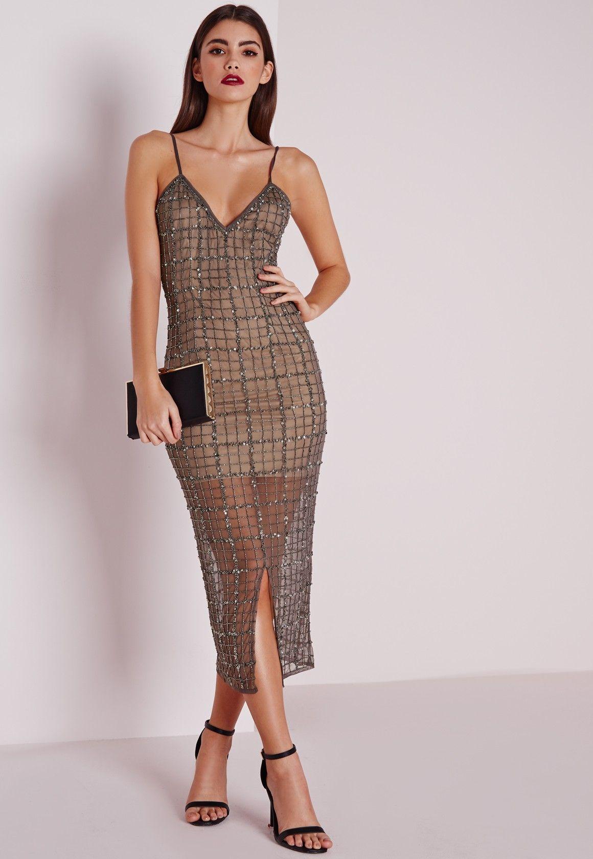 d51214c1bd Missguided - Premium Grid Embellished Midi Dress Grey | Shopping ...
