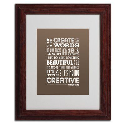 Trademark Art 'Creative Running II' by Megan Romo Framed Textual Art Size:
