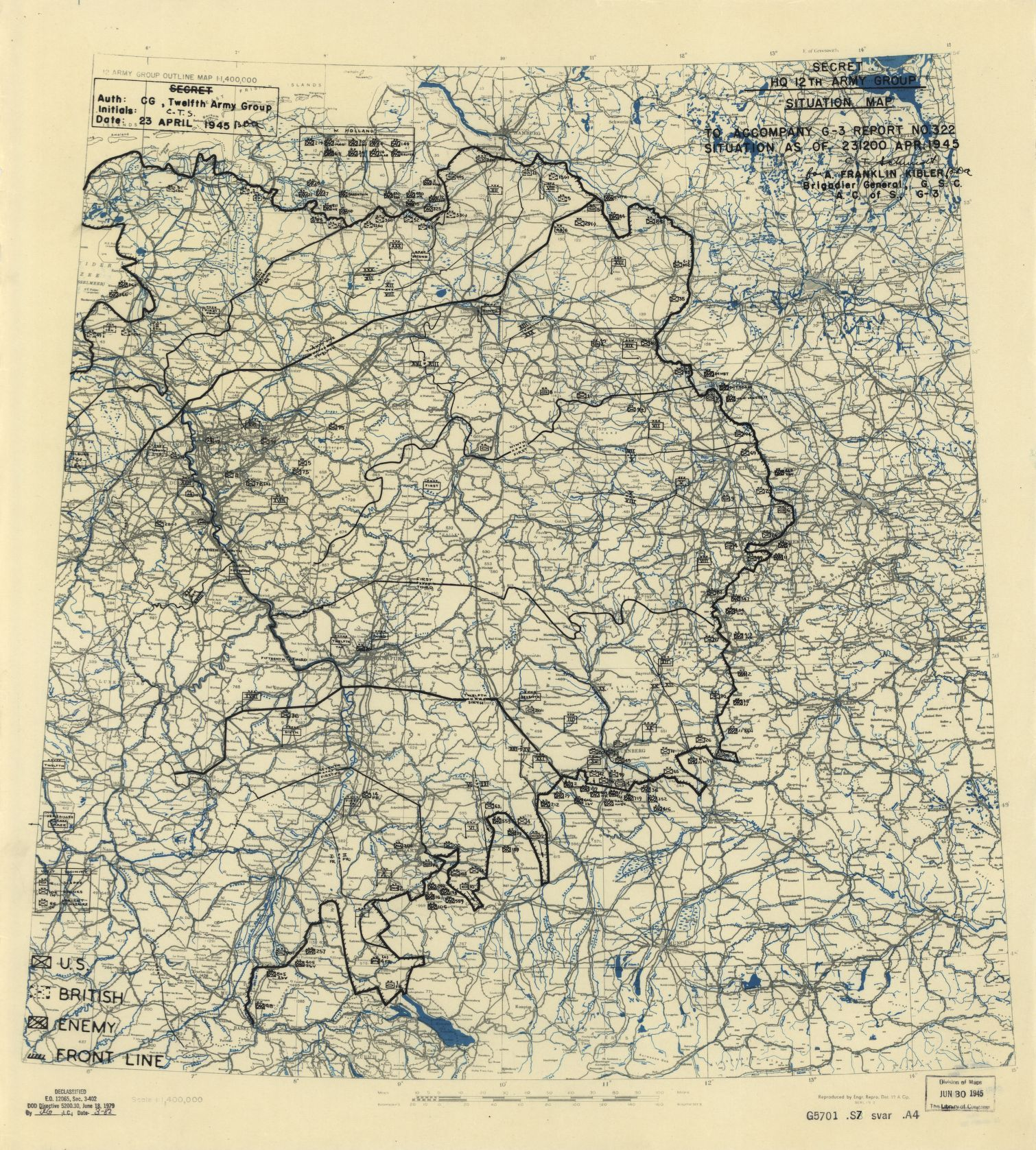 Carte de situation du 23 avril 1945 Situation map from