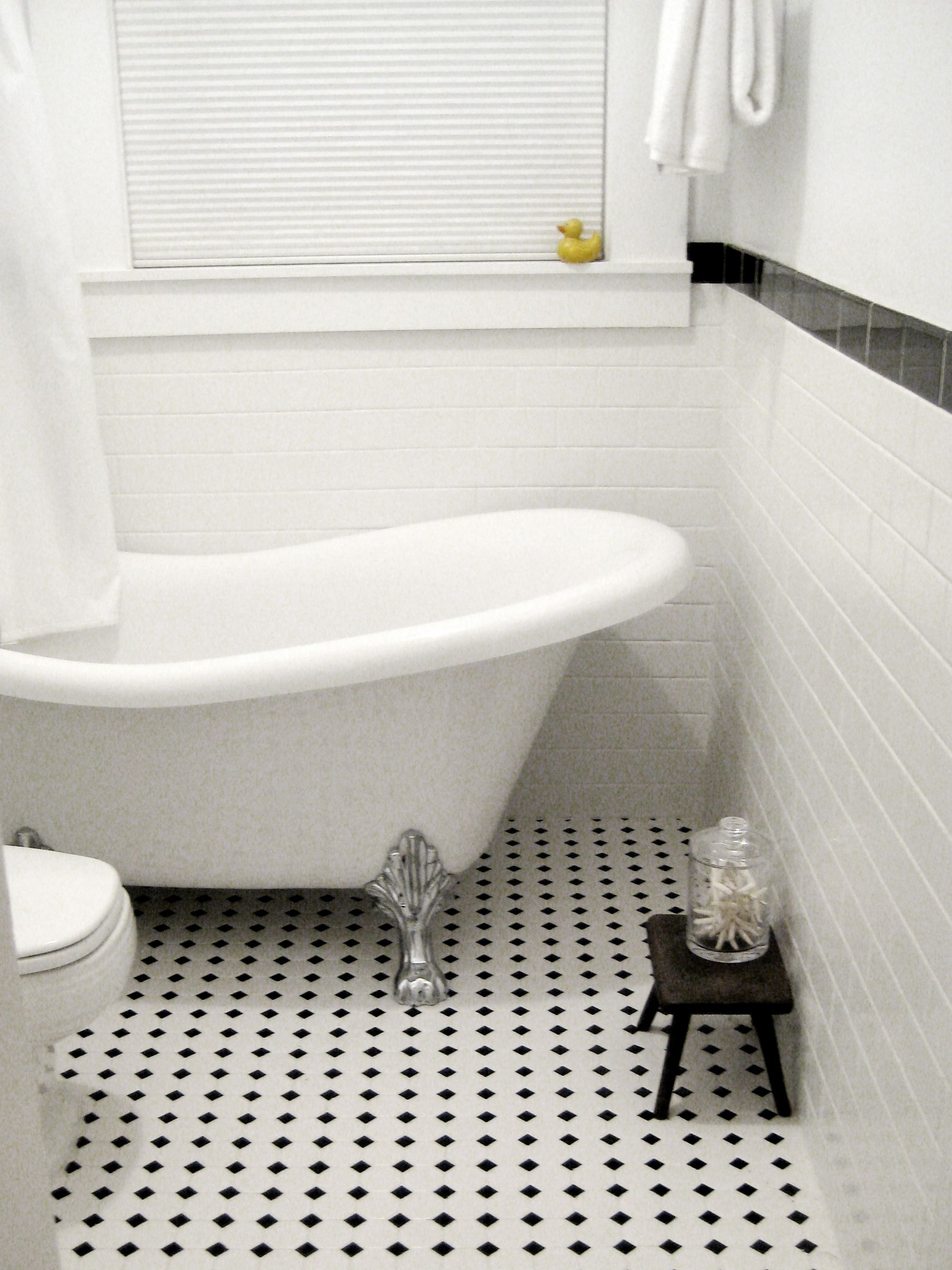 Black And White Tile Clawfoot Tub Duck Bathroom Pinterest White Tiles A