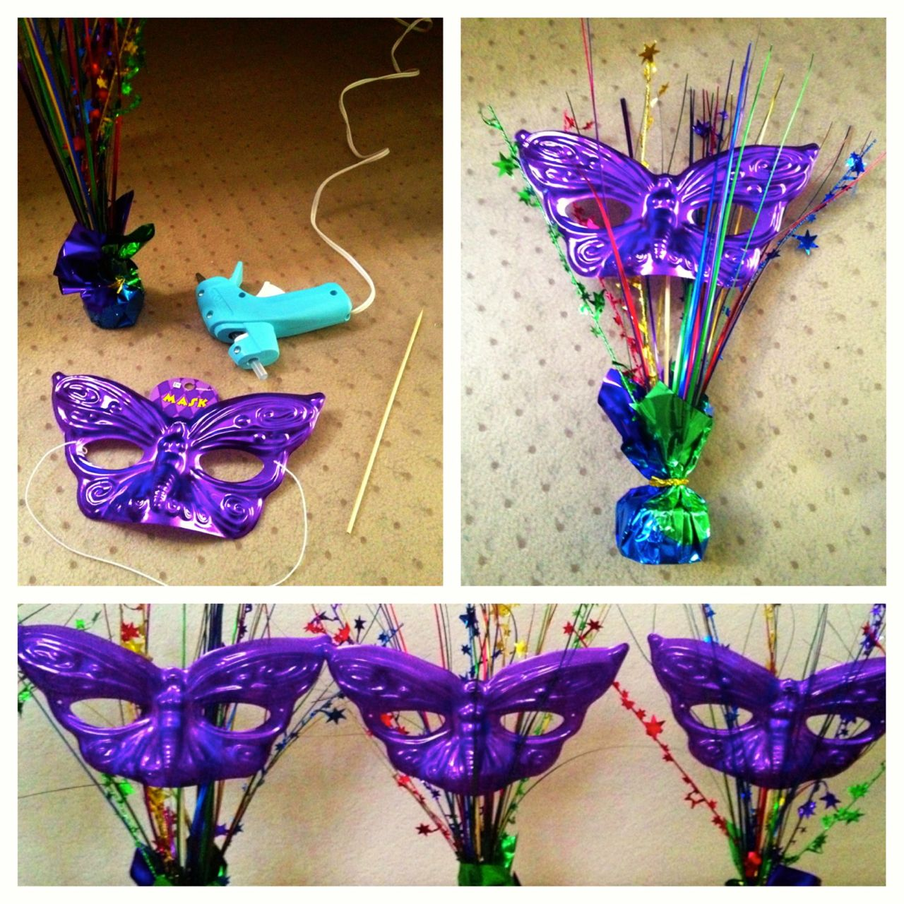 Masquerade mask centerpiece ideas party